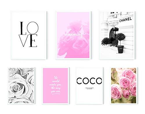 MARELLE 7er Poster Set Coco Love, Wohndeko Wandbilder Rosa Spruch, Bester Preis, A3 & A4 ca. 30x40 20x30 ohne Rahmen Nr8473