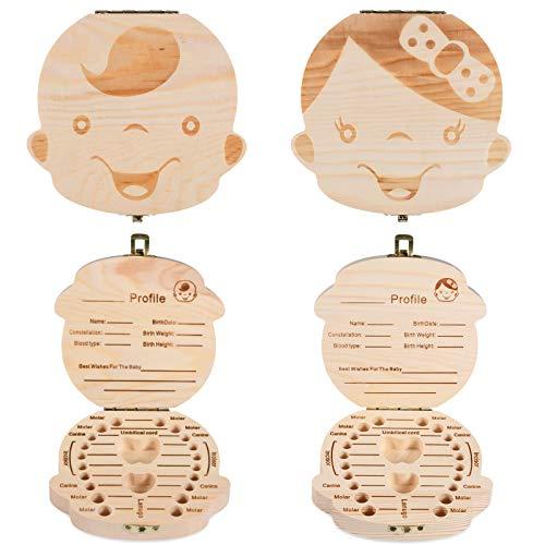 Kinder Milchzähne Dose Holz,2 Stück Kinder Zahndose, Baby Milchzahndose Box Organizer,Milchzahndose Zähne Box für Baby Save Box Organizer für Baby Girls Boys zahndose milchzähne