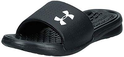 Under Armour Men's Playmaker Fixed Strap Slide Sandal, Black (001)/White, 9