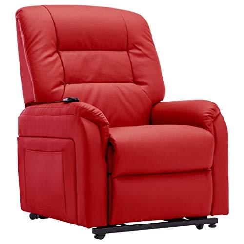 Tidyard Elektrischer TV-Sessel mit Aufstehhilfe Relaxsessel Fernsehsessel Relaxsessel Sessel Liegesessel Relaxliege Rot Kunstleder