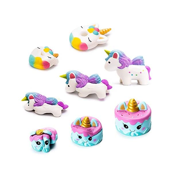 YXJC Fun Toys Squishies, 4pcs Simulation Food Unicorn Donut Squishy, Creamy Aroma Slow Rising Squeeze Toys for Boys and Girls Gifts 5