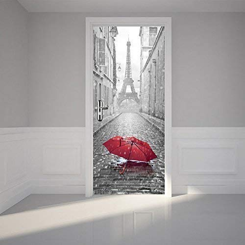 Wallflexi - Decorazione da parete per porta, Torre Eiffel, decorazione da parete, decorazione per soggiorno, asilo, ristorante, hotel, bar, ufficio, vinile, multicolore, 200 x 88 x 0,03 cm