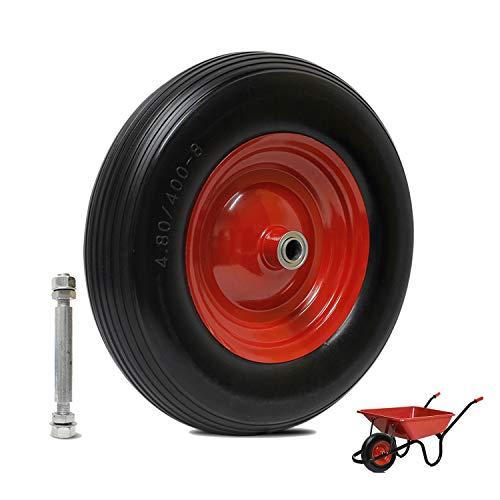 YAOBLUESEA carretilla rueda antipinchazos para neumáticos goma rueda de repuesto carretilla rueda de poliuretano 390 x 100 mm 4.00 – 8 20 mm Rueda de poliuretano Max 200 kg