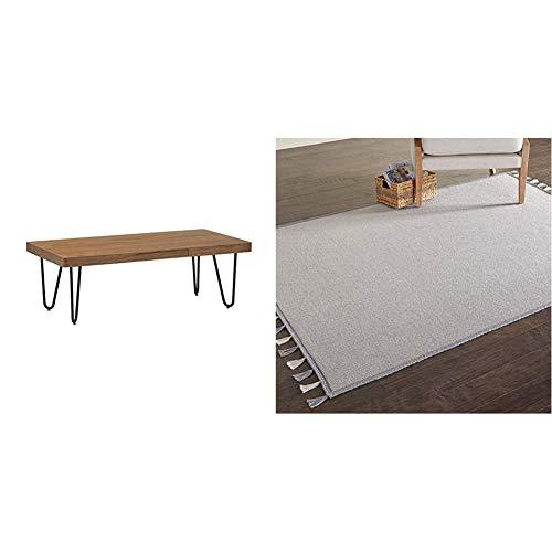 Amazon Brand - Rivet Rectangular Hairpin Wood & Metal Coffee Table, 120 x 40 x 60cm & Amazon Brand - Movian Iskar Textured Rectangular Area Rug with Tassel Edges, 228.6 cm x 152.4 cm, Light Grey