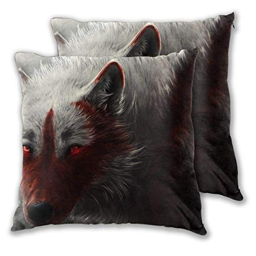 JONINOT 2 PCS 16'x16' Wolf Artwork Throw Pillow Cushion Case,Inserts are Not Included
