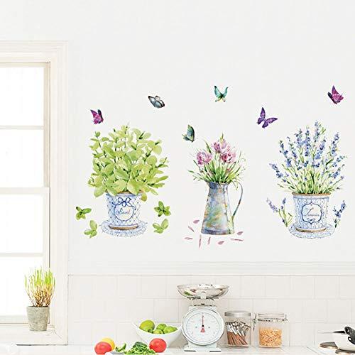 Plant Muursticker Diverse Bloemen 3D Stickers Waterdichte PVC Verwijderbare DIY Muur Kunst voor Woonkamer Slaapkamer Kwekerij Kamer Kleuterschool Mooie bloempot