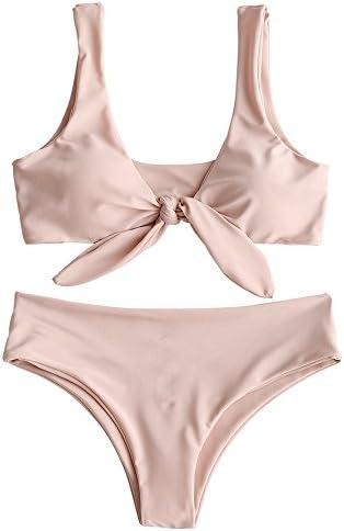 ZAFUL Womens Padded Front Knot Bikini Set Pink S product image