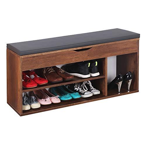 RICOO WM034-EC-A Banco Zapatero 104x49x30cm Armario Interior con Asiento Organizador Zapatos Mueble recibidor Perchero Madera Roble marrón