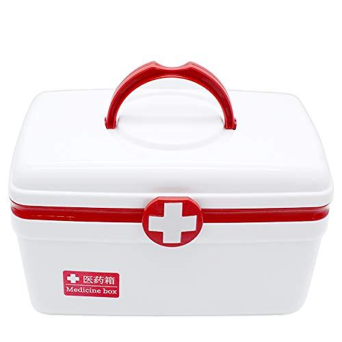 Caja Botiquin Primeros Auxilios con Tapa, ZoneYan Caja de Farmacia Portátil, Caja de Medicinas con Asa, Botiquín Casa, Botiquín de...