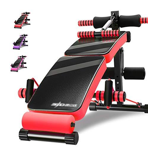 Olympia-Hantelbänke Flachbank Sit-ups Fitnessgeräte Domestic Faltbare Fitness Stuhl Multifunktionale Hantelbank 4 Ebenen Verstellbare (Color : Red, Size : 140 * 70 * 40cm)