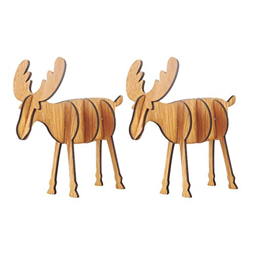 Iusun 2PC Wooden DIY Mini Elk Tabletop Merry Christmas Decoration Ornaments Birthday Present Bedroom Desk Scene Dress Up Decor for Home Office Supplies Gift Box (A)