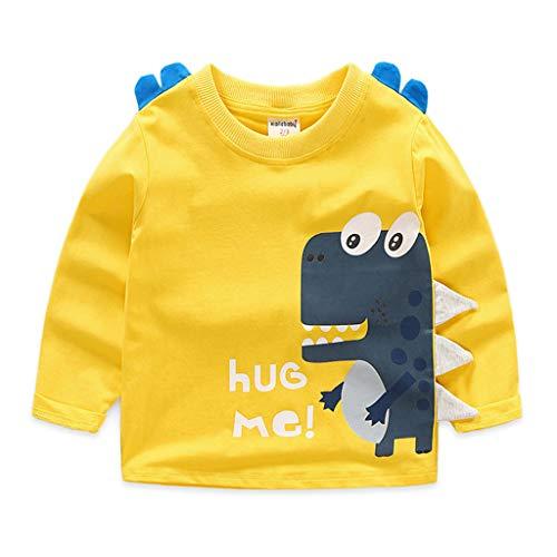 Enfants Chemise à Manches Longues Bébé Dinosaure Pullover Garçons Sweat-shirt Coton Tops 3-4 Ans
