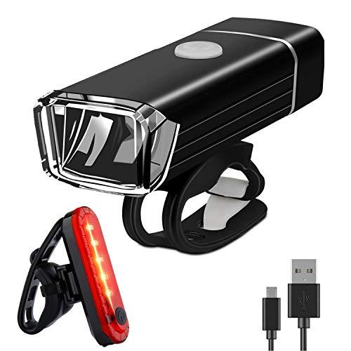 WASAGA Juego de Luces de Bicicleta, Luces de Bicicleta Recargables a Prueba de Agua USB, Luces de Ciclo LED Cree y de fácil Montaje Cree, luz Delantera de Ciclo USB y luz Trasera
