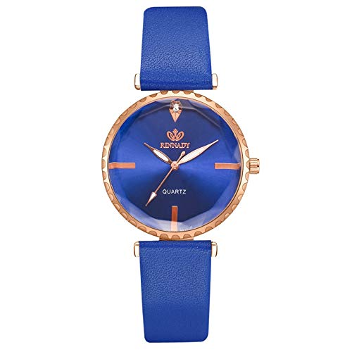 JZDH Women Watches Simple Dial Women's Watches Casual Leather Strap Rhinestone Quartz Wrist Watch Dress Female Clock Ladies Girls Casual Decorative Watches (Color : Blue)
