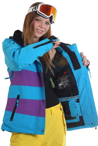 LIGHT Giacca da Snowboard da Donna Mia, Donna, Electric Blue/Purple/Yellow, XS