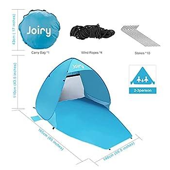 Tente de Plage, Pop-up Anti UV Abri de Plage 2 ou 3 Personnes Abri Soleil UPF 50+ ,Extérieur Portatif pour Plage Camp Bain de Soleil Tente de camping pour famille, camping, randonnée, pêche, plage