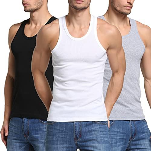 Hombres Camiseta Tirantes 3 Piezas De Algodón Cómodo para Fitness Deportes