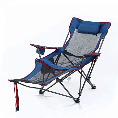 Sillas Plegables portátiles al Aire Libre Sillas de Camping con reposapiés Respaldo Ajustable Portavasos Compacto Camping Senderismo Playa Pesca Jardín