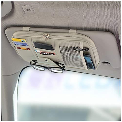 Car Sun Visor Organizer, Vankcp Auto Interior Accessories Sunglass Pen CD Card Small Document Storage Pouch Holder, PU Leather, Multi-Pocket with Zipper Net (Grey)