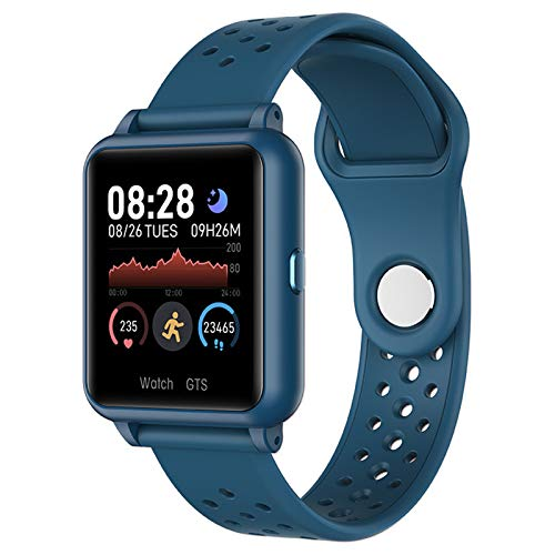 RNNTK IP67 Impermeable Smartwatch, 1.3in Pantalla Táctil A Color Fitness Reloj Inteligente para Hombre Mujer,con Control De Música Dormir Pulsómetro Reloj Deportivo-Azul