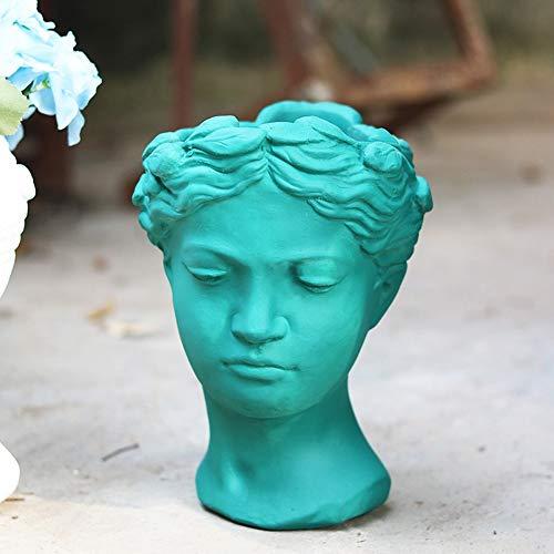 Rishx Vintage Venus Diosa Griega Estatua Ornamento Creativo Retrato Cemento Cabeza Tiesto Europeo Vase Living Room Oficina de Escritorio Hace Decorativo (Color : 8, tamaño : S)