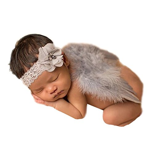 Rebecca online Newborn Baby Feather Angel Wings, Flower Halo Set, Pink, Small