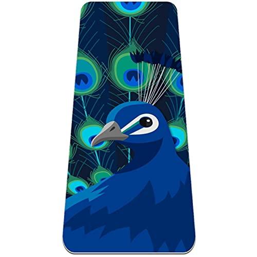 nakw88 Tapete plegable de fondo azul pavo real para gimnasia, esterilla de yoga, antideslizante, para perder peso, impermeable, para gimnasio, pilates y pisos