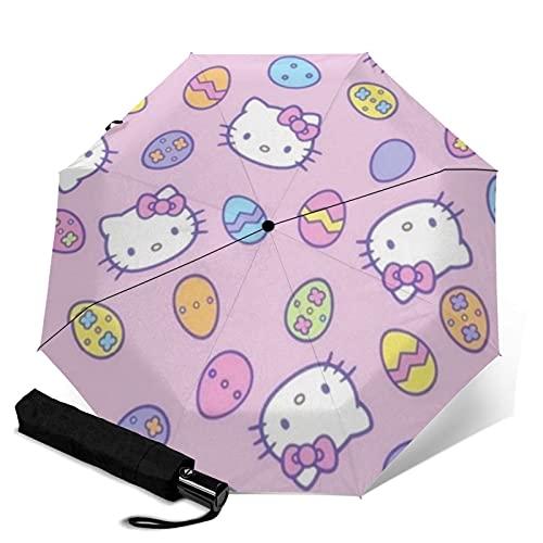 Hello Kitty Paraguas automático de tres pliegues para viajes, plegable, apertura automática, portátil, resistente a los rayos UV, resistente al agua, duradero