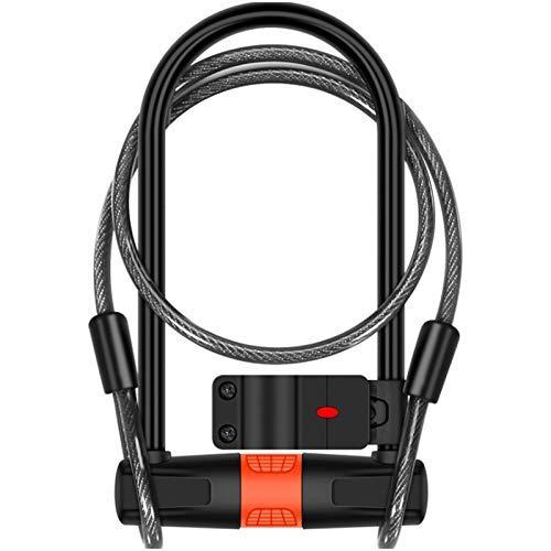 DSENIW QIDOFAN Bicycle U-Lock with Cable,Alloy Steel Cable Lock and Cable, U-Lock, Bicycle Battery Car, Motorcycle Car Lock, Anti-Theft Lock, Anti Hydraulic Shear Bike Accessories