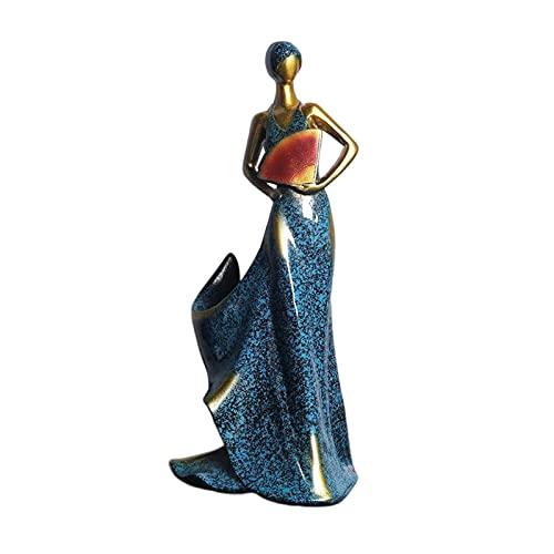 Esculturas Decoración, estatuas de Belleza Figuras coleccionables Adornos Resina Estante para Vino Artesanía Ventilador Belleza Soporte para Almacenamiento de Vino Centros de Mesa - Azul, Duradero