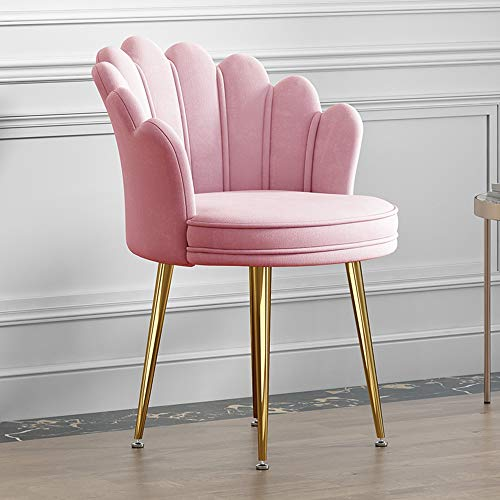 ZINIUKEJI Samt Esszimmerstühle Blütenblatt Rückenlehne Metallhalterung Lounge Stühle Dressing Hocker für Wohnzimmer Schlafzimmer Küche, Pink
