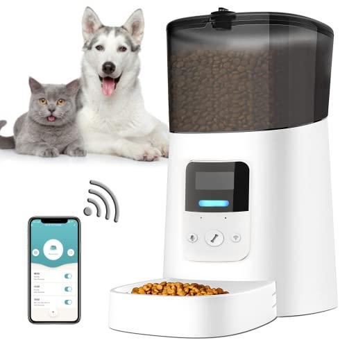 Comedero Automatico Gato Perro, 6L WiFi Comedero Automático Gatos Perros, Arespark Dispensador Comida Gatos Perros con Control App, hasta 15 Comidas por Día, Doble Fuente de Alimentación