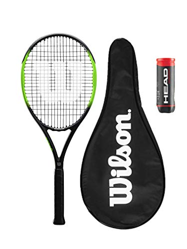 Wilson Blade Feel 105 Raqueta de tenis de grafito, cubierta protectora completa y 3 pelotas de tenis de campeonato