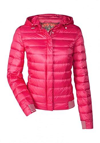 MILESTONE Leichte Damen Daunenjacke Steppjacke Übergangsjacke mit Kapuze Rosa Pink Gelb Blau Rot Khaki Gesteppt Gefüttert Gr. 34-48 (38, Pink)