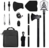 Survival Shovel Camping Axe,Multi-Function Folding Tactical Shovel Camp Hatchet Combo 19-39in Extension Handle,Multi-Tools Survival Equipment,High Carbon Steel Military Style for Outdoor Adventure