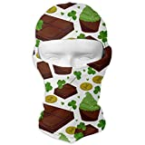 Vidmkeo St. Patrick's Day Shamrock Golden Coins Chocolate Men Women Balaclava Neck Hood Full Face Mask Hat Sunscreen Windproof Breathable Quick Drying New14