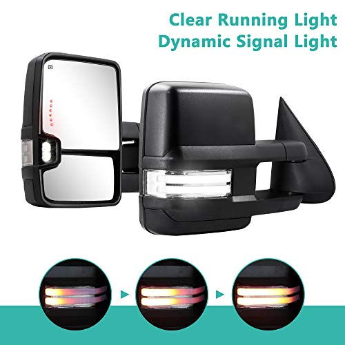 Towing Mirrors Switchback Lights for 2003 2004 2005 2006 2007 Chevy Silverado Suburban Yukon Tahoe GMC Sierra Cadillac Escalade with Turn Signal Light Running Lights Power Glass Backup Lamp Heated