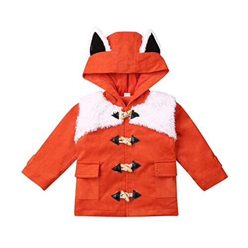 Toddler Baby Boy Girl Animal Long Sleeve Hoodie Jacket Coat Plush Cartoon Fox Ear Tail Outerwear Fall Wiinter Clothes (Orange, 3-4T)