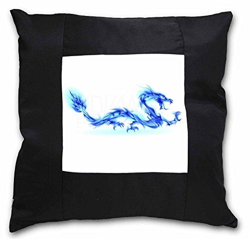 Advanta blau Flame Dragon schwarz Bordüre Satin Feel Kissenhülle mit Kissen einfügen, Polyester, Mehrfarbig, 36x 36x 12cm