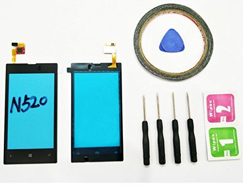 JRLinco Für Nokia Lumia 520 N520Glas Bildschirm Display Touchscreen Ersatzteil ( Ohne LCD ) Für Nokia Lumia 520 N520 schwarz + Werkzeuge & doppelseitigen Kleber + Alkohol Reiniger Paket