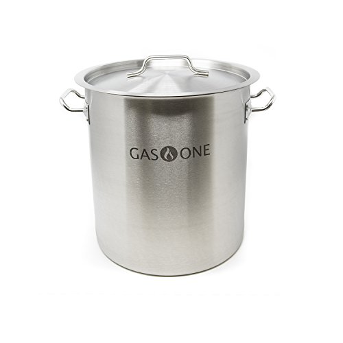 GasOne SP-32 Stainless Steel Brew Kettle Pot 5 Gallon 32 Quart Satin Finish with Lid/Cover