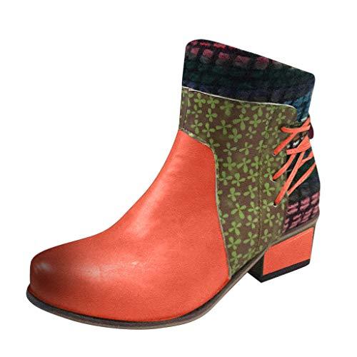 Stiefel Damen Westernabsatz Reißverschluss Kurzschaft Stiefeletten mit Schnürsenkel Mehrfarbig Drucken Patchwork Damenschuhe Runder Zeh Schuhe (35 EU, Orange)