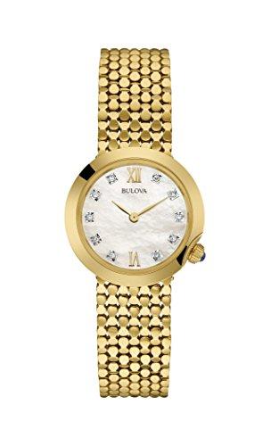 Bulova Diamond 97S114 - Reloj de Pulsera de diseño para Mujer - Dorado
