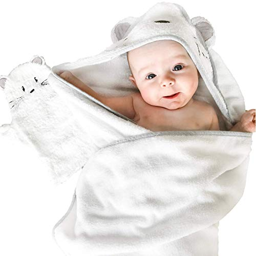 Tutti Bimbi Certified Organic Bamboo Hooded Baby Bath Towel. Premium Soft and Thick Set with Mitten