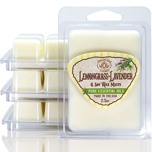 Way Out West Candles Scented Wax Melts for Wax Warmers - Highly Fragrant Air Freshener - 4 Pack Set of 6 Melt Cubes with Essential Oils - Made in USA (4, Lemongrass-Lavender)