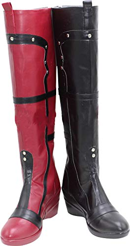 MINGCHUAN Whirl Cosplay Boots Shoes for Batman Harley Quinn Long
