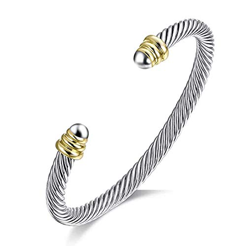 Tiyad Cable Wire Cuff Bracelet Two Tone Bangle Bracelets for Women...
