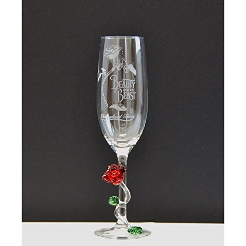 Disneyland Paris Beauty and the Beast Champagne Glass with Rose by Arribas Brothers …