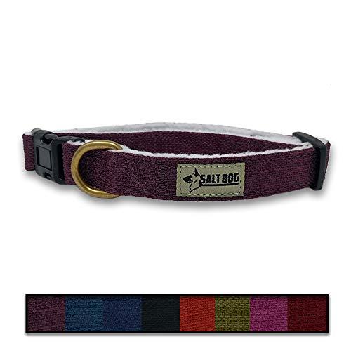 Salt Dog Natural Hemp Collar (Small, Purple)
