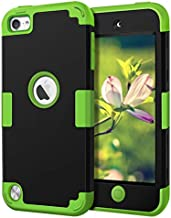 Case for iPod 5 6 7- CheerShare iPod Touch 7 6 5 Case, The Best Silicone Shockproof High Impact Layered Case + Protective Cover Case for iPod Touch 5th 6th 7th Generation(Black + Green)